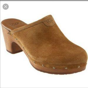 Ugg Abbie Suede Chestnut Boho Trendy Wooden Clog